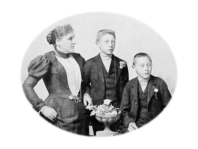 with his Mother and Brother