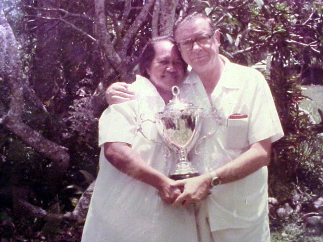 Mom and Dad + Bowling Trophy